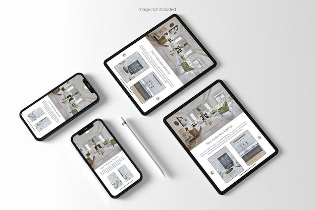 Maquete realista de site de vários dispositivos
