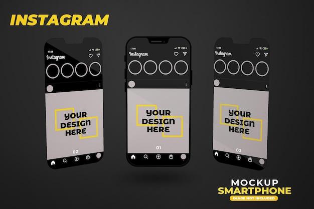 Maquete realista de smartphone com instagram isolado