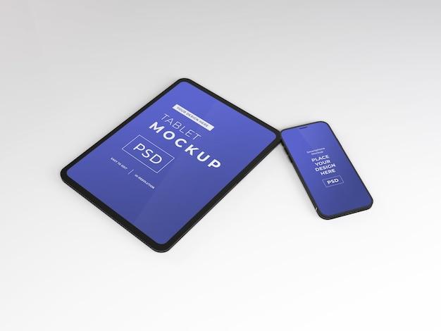 Maquete realista de smartphone e tablet