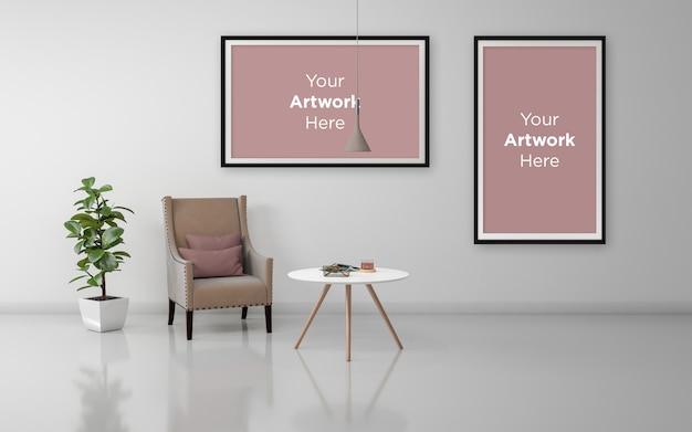 Maquete realista de sofá e mesa duas molduras vazias design de maquete