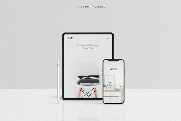 Maquete realista de tablet e smartphone