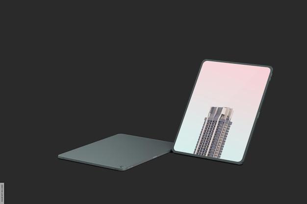 Maquete realista de tablet inteligente com luz escura