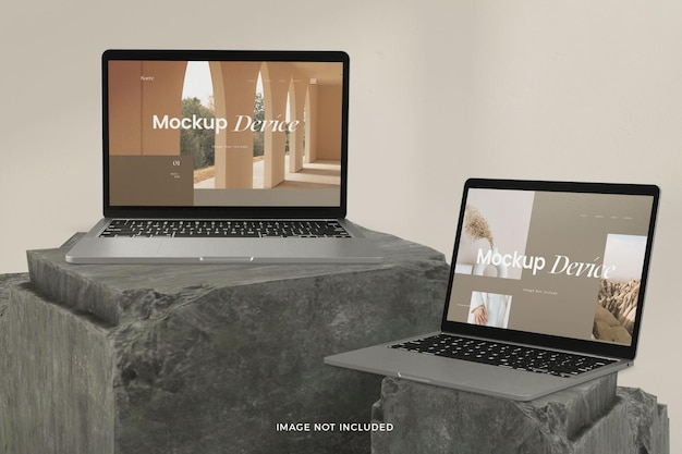 Maquete realista de tela de dispositivo portátil