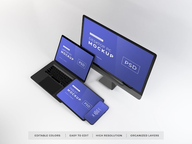Maquete realista de vários dispositivos