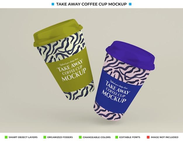 Maquete realista de xícara de café com conceito de take away