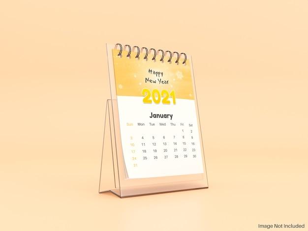 Maquete realista do calendário de mesa de vidro