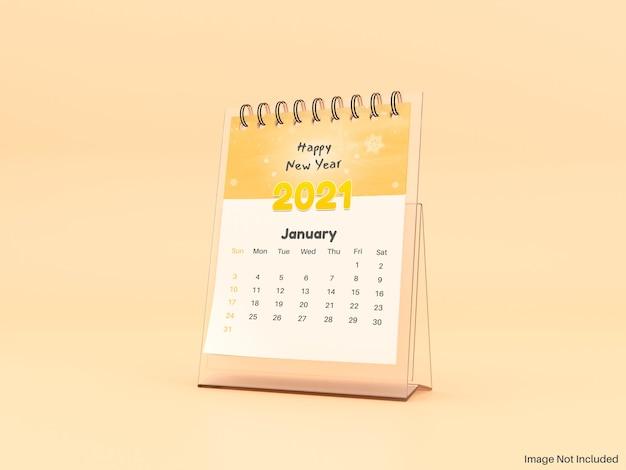 Maquete realista do calendário de mesa do ano novo