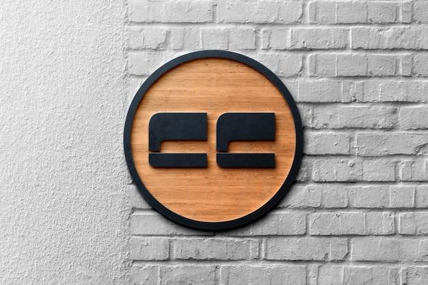 Maquete realista do logotipo 3d em mármore
