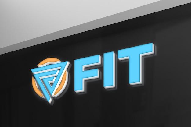 Maquete realista do logotipo 3d neon na parede