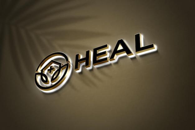 Maquete realista do logotipo 3d ouro neon