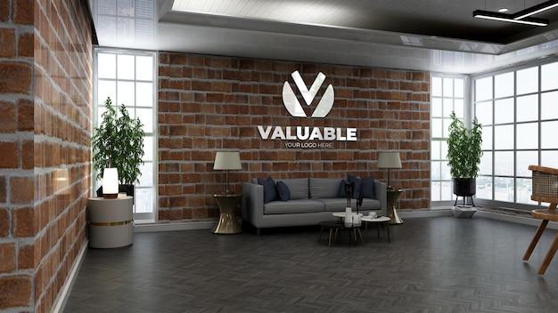Maquete realista do logotipo da cafeteria em um café ou restaurante com parede de tijolos