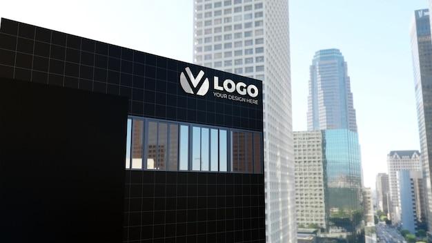 Maquete realista do logotipo da empresa de construção em 3d