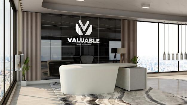 Maquete realista do logotipo da empresa em 3d na área de recepção do escritório com interior de design luxuoso
