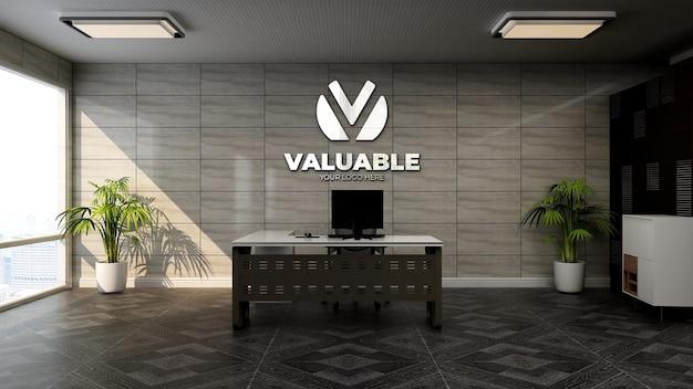 Maquete realista do logotipo da empresa em 3d na moderna sala do gerente de escritório