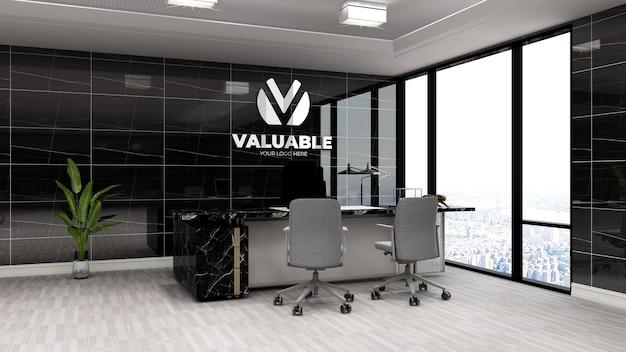 Maquete realista do logotipo da empresa em 3d na moderna sala preta do gerente de escritório