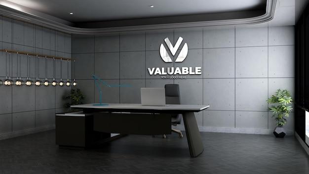Maquete realista do logotipo da empresa em 3d no espaço do gerente de escritório com design industrial interior Psd Premium