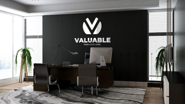Maquete realista do logotipo da empresa em 3d no espaço do gerente de escritório com interior de design de luxo
