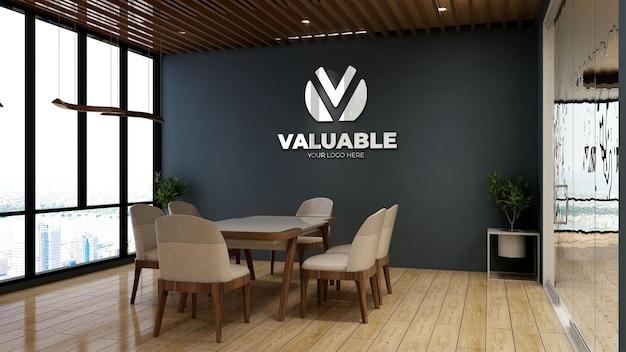 Maquete realista do logotipo da empresa em uma sala de reunião de escritório minimalista de madeira para um logotipo de marca
