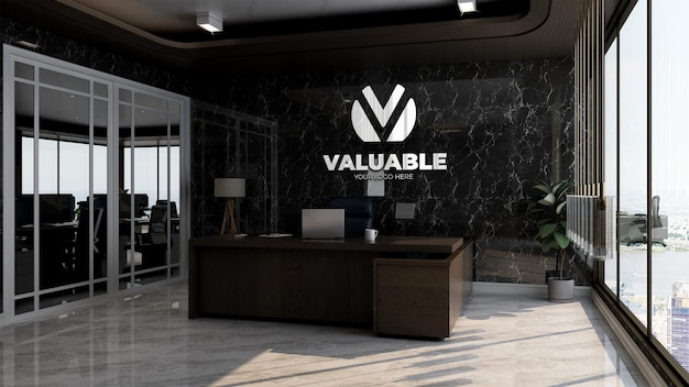 Maquete realista do logotipo da empresa na luxuosa sala do gerente de escritório com parede preta