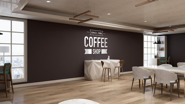 Maquete realista do logotipo da parede 3d na cafeteria