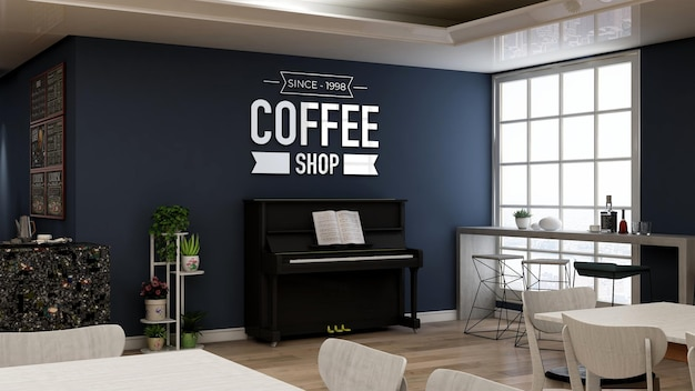Maquete realista do logotipo da parede 3d no café com piano