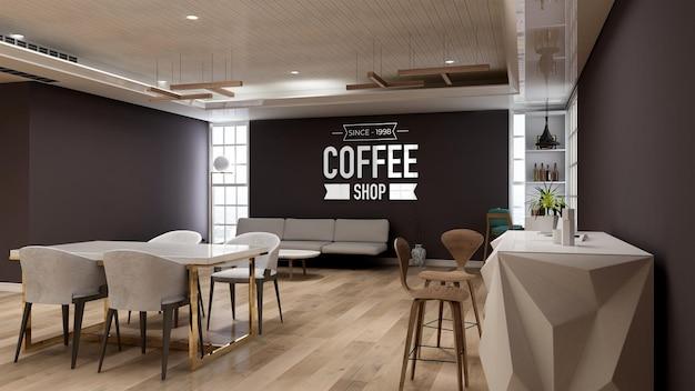 Maquete realista do logotipo da parede 3d no café com sofá