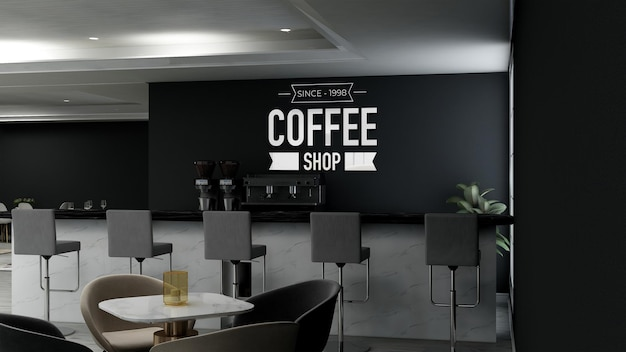 Maquete realista do logotipo da parede 3d no interior moderno do café-bar
