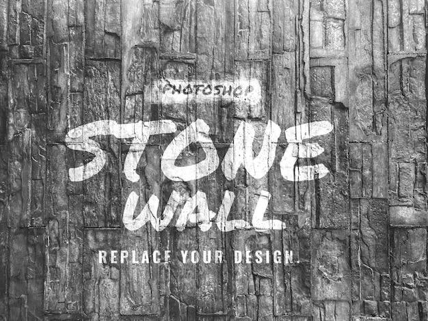 Maquete realista do logotipo da parede de pedra