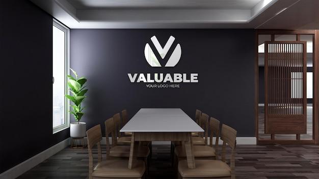 Maquete realista do logotipo da parede em 3d na sala de reuniões minimalista do escritório de madeira