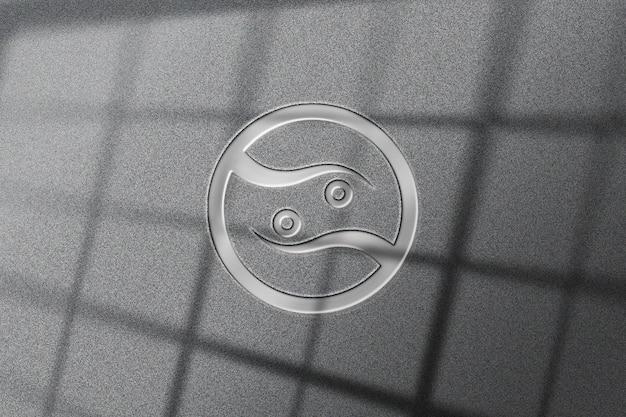 Maquete realista do logotipo de metal brilhante
