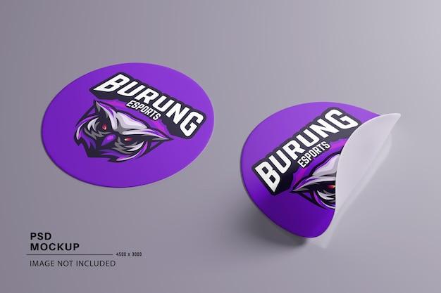 Maquete realista do logotipo do adesivo