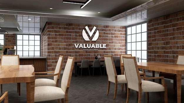 Maquete realista do logotipo do restaurante com parede de tijolos