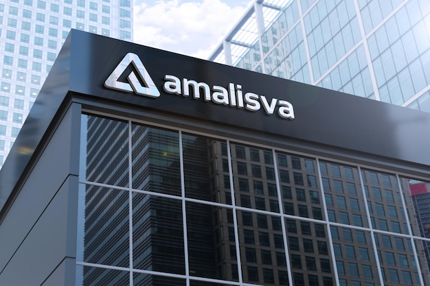 Maquete realista do logotipo em 3d em um edifício moderno