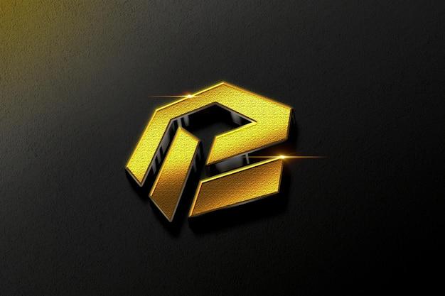 Maquete realista do logotipo em ouro 3d