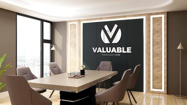 Maquete realista do logotipo em uma luxuosa sala de reuniões