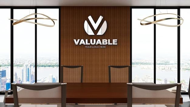 Maquete realista do logotipo em uma moderna sala de reuniões