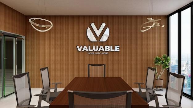 Maquete realista do logotipo em uma sala de reunião rústica