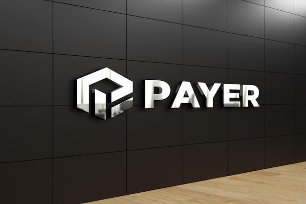 Maquete realista do logotipo na parede do escritório