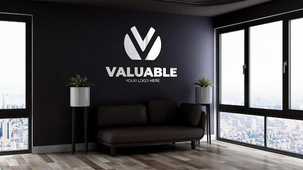 Maquete realista do logotipo na sala de espera do saguão do escritório