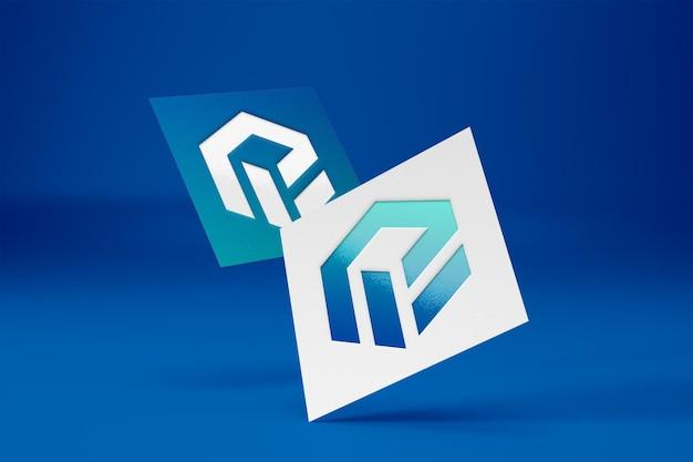Maquete realista do logotipo no papel