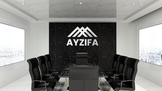 Maquete realista do logotipo prateado no escritório da sala de reuniões