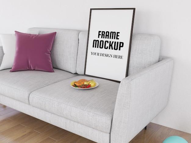 Maquete realista no sofá branco
