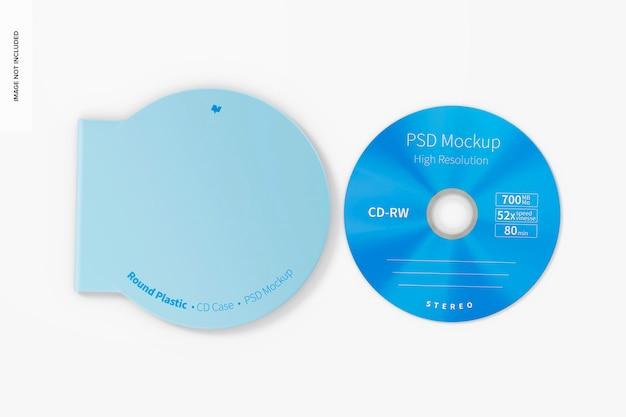 Maquete redonda de caixa de cd de plástico, vista superior