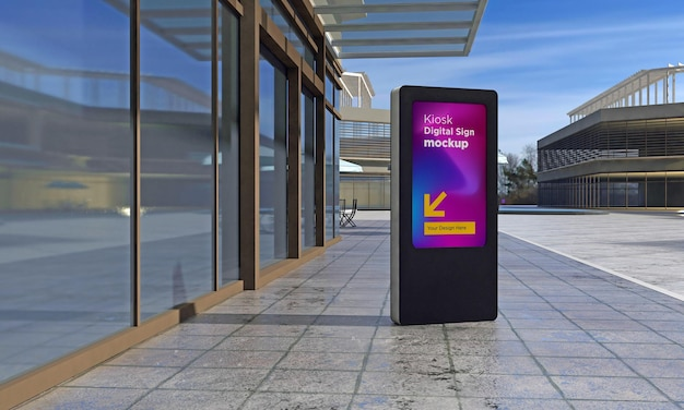 Maquete renderizado em 3d de totem e quiosque de sinalização digital