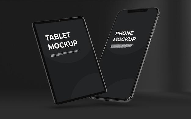 Maquete responsiva de vários dispositivos com cor escura