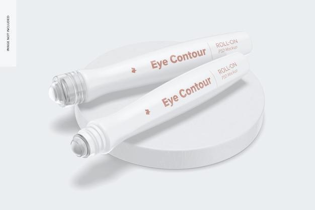 Maquete roll-on do contorno dos olhos, vista em perspectiva