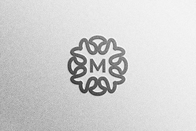 Maquete simples de logotipo preto realista em 3d na parede de grunge