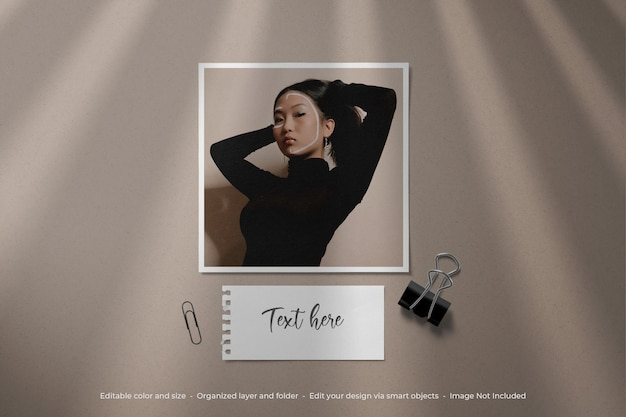 Maquete simples e minimalista do moodboard photo polaroid
