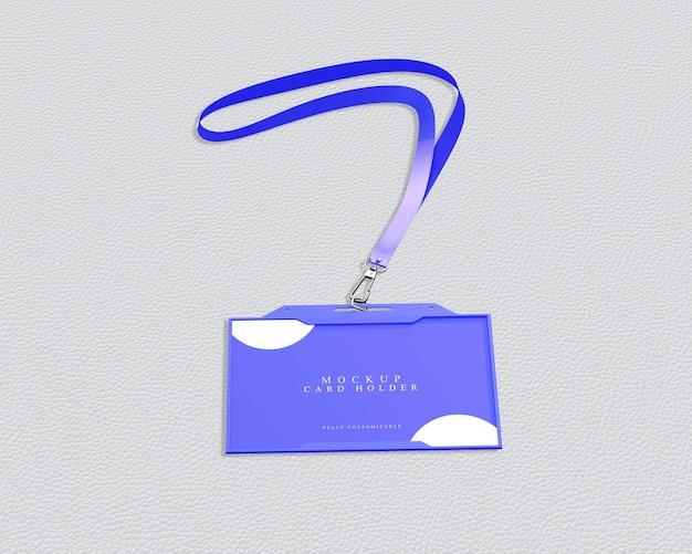 Maquete simples para um titular de cartão de identificação azul