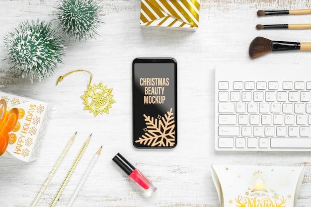 Maquete smartphone para decoração de natal e ano novo